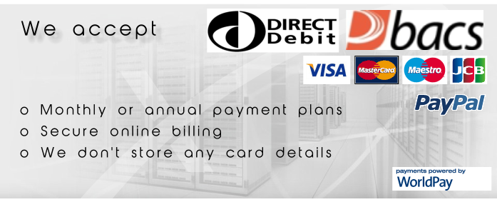 Payment types we accept